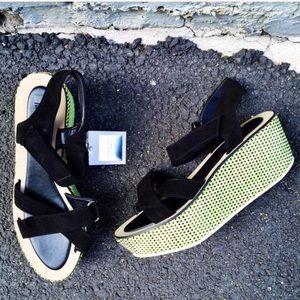 Zara Neon Braided Velcro Wedge
